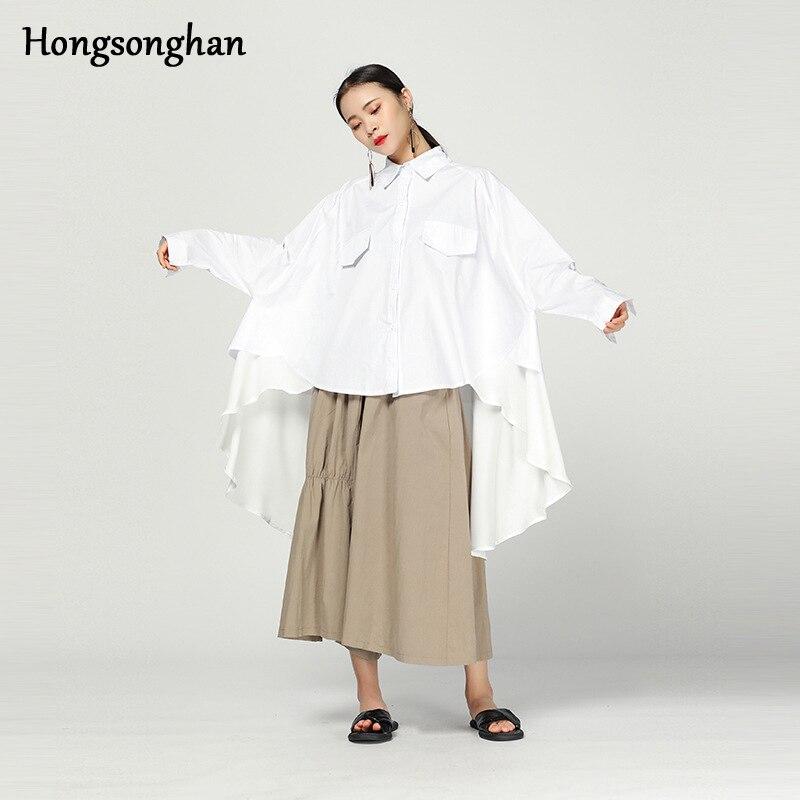 Hongsonghan femmes Blouses à manches longues col rabattu bureau chemise en mousseline de soie Blouse chemise décontracté hauts grande taille Blusas Femininas