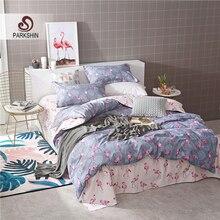 ParkShin Bedding Set Pink Flamingo Comforters Double Duvet Cover Bed Sheet Elastic Bedspread Nordic Queen King Bed Linens Set flamingo random print bed sheet set