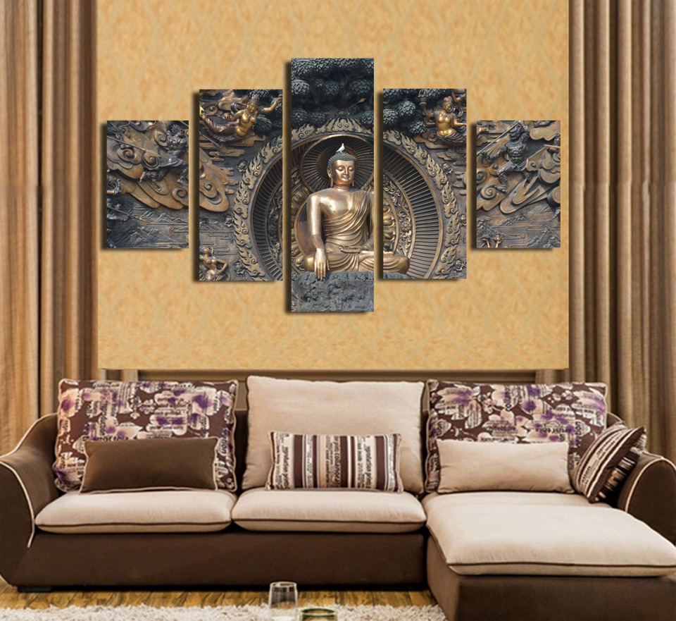 5 Pieces Buddha Statue Art Wall Art Picture Modern Home Decoration Living  Room Or Bedroom Canvas