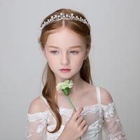 Rhinestone Plant Design Crown Tiara Girls Headband Hair Accessories Princess Teens Headpiece for Wedding Party Hairwear Jewelry