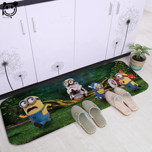 PEIYUAN Door Mat Fashion Washable Doormat Printing Cartoon Cute Minions Rugs Carpets Soft White Flannel Exercise Floor