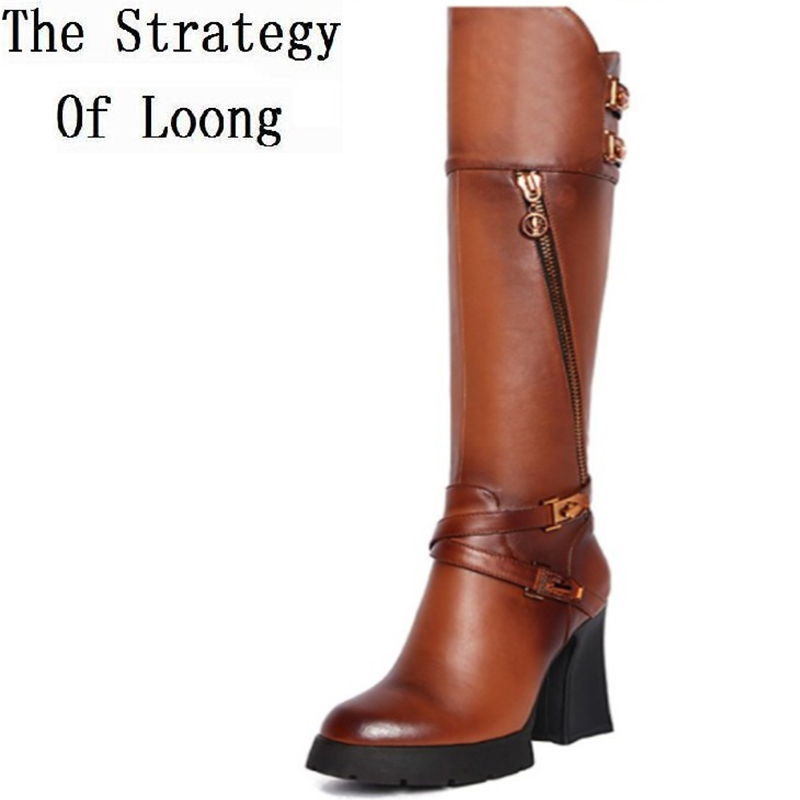 Women Autumn Winter Thick High Heel  Genuine Leather Boots Buckle Zipper Fashion Warm Knee High Boots Size 34-39 SXQ0731 стоимость