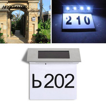 HNGCHOIGE Solar Doorplate Number Outdoor Lighting Billboard Light Stainless Steel House Apartment Light-Operated Lamp