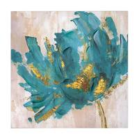 Hand painted flower Oil Painting Turquoise Gold Lotuern modern home decor abstract Wall Art picture for living room on canvas