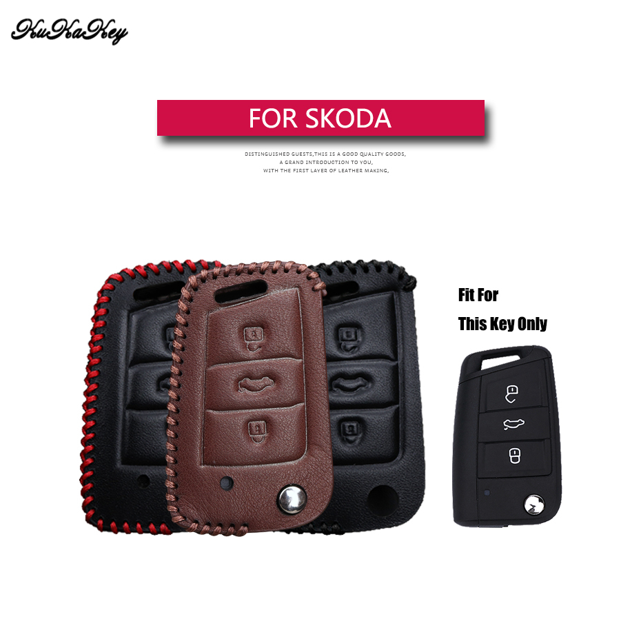 KUKAKEY For Skoda Auto Car Key Case Leather Key Cover For Skoda Octavia Combi A7 Rapid Yeti Fabia Superb Key Coldre Cover Bag bannis genuine leather steering wheel cover for skoda octavia superb 2012 fabia skoda octavia a 5 a5 2012 2013 yeti