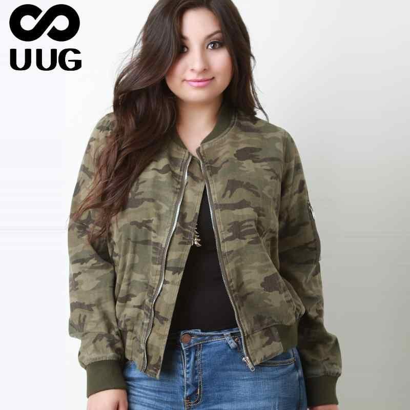 ab2b2fa3 Plus Size Camouflage Jacket Women Coats 5xl 6xl Big Size Ladies Clothes  Spring Autumn Zipper Coat