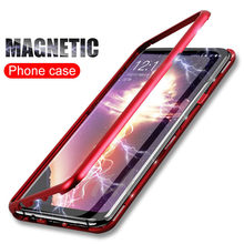 H&A Magnetic Adsorption Phone Case For Samsung S8 S9 Plus S7 Edge Back Tempered Glass Cover Case Note 9 8 Magnet Protective Case(China)