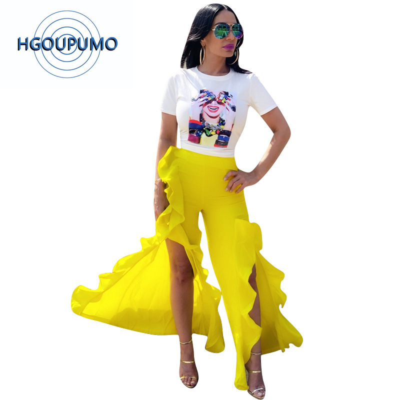 Néon jaune Sexy deux pièces survêtement femmes caractère imprimé à manches courtes t-shirt et haut Split volants Flare pantalon ensembles assortis