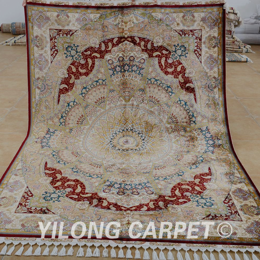 Yilong 5.6'x8.2' Antique kashan persian carpets beige red hand - Home Textile
