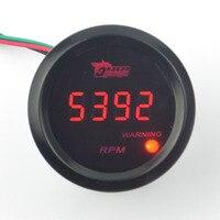 Evrensel 52mm araç Dijital Kırmızı led Siyah Kılıf Oto Takometre 0-9999 RPM Yarış Tamir Uydurma Ücretsiz kargo
