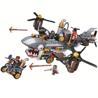 Age Of Steam Super Heroes Creator Pirate Shark Airship Building Block Set Movie Classic Kids Toys Gift Marvel Compatible Legoe