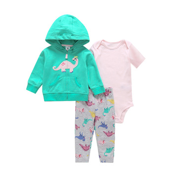 3 Pcs/Set Infant Baby Clothes 2020 Spring Fal Cotton Baby Coat+Pants+Bodysuit Long sleeves Newborn Bebe Girls Clothing OutfitS 3