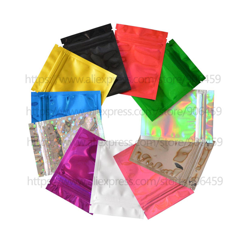 100 Pcs Colorful Top Feed Foil Zip Lock Bags Food Pouch,Mylar Aluminum Foil Bags,Tea Pouches,Food Storge Bag