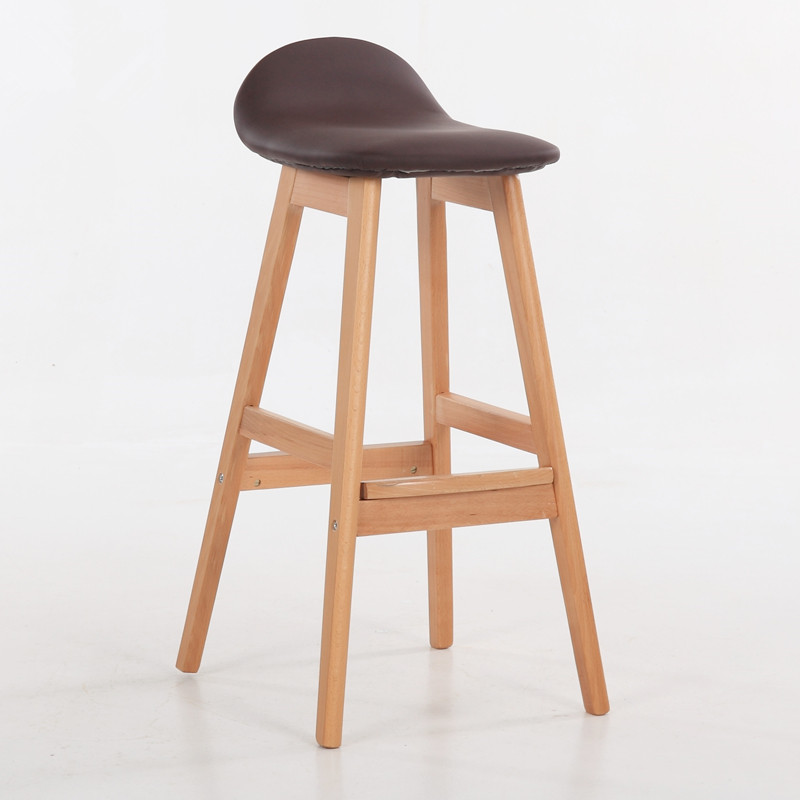 Vintage Wood Bar Stool Dining Chair Counter Height Kitchen Breakfast  Barstool Bar Furniture Modern Bar Chair With Wooden Legs In Bar Stools From  Furniture ...