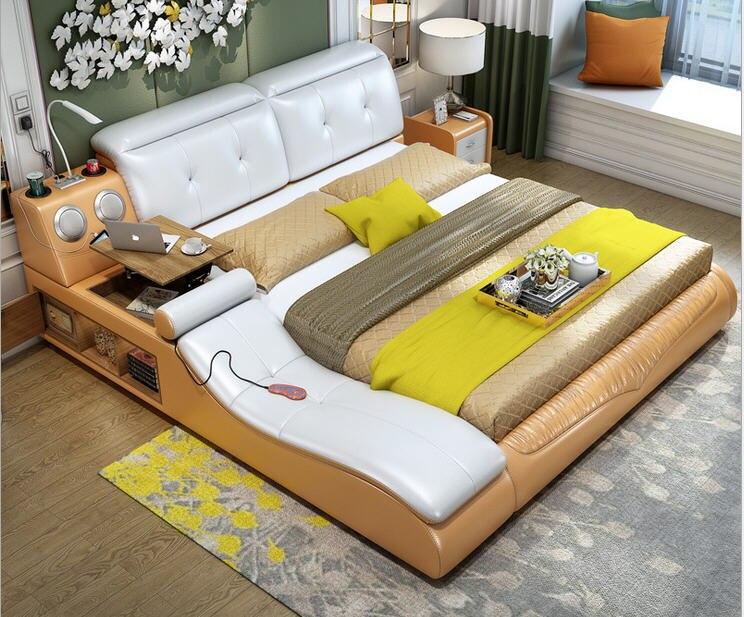 Home Bedroom Bed-Frame Massage Furniture-Camas Soft-Beds Bet Lit Real-Genuine-Leather