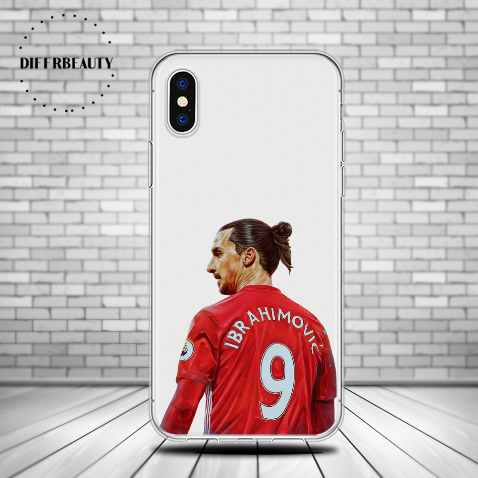 DIFFRBEAUTY Football Soccer Player Zlatan Ibrahimovic Back Cover Phone Cases For iPhone 5s SE 6s 7 8 plus X Soft Silicone case