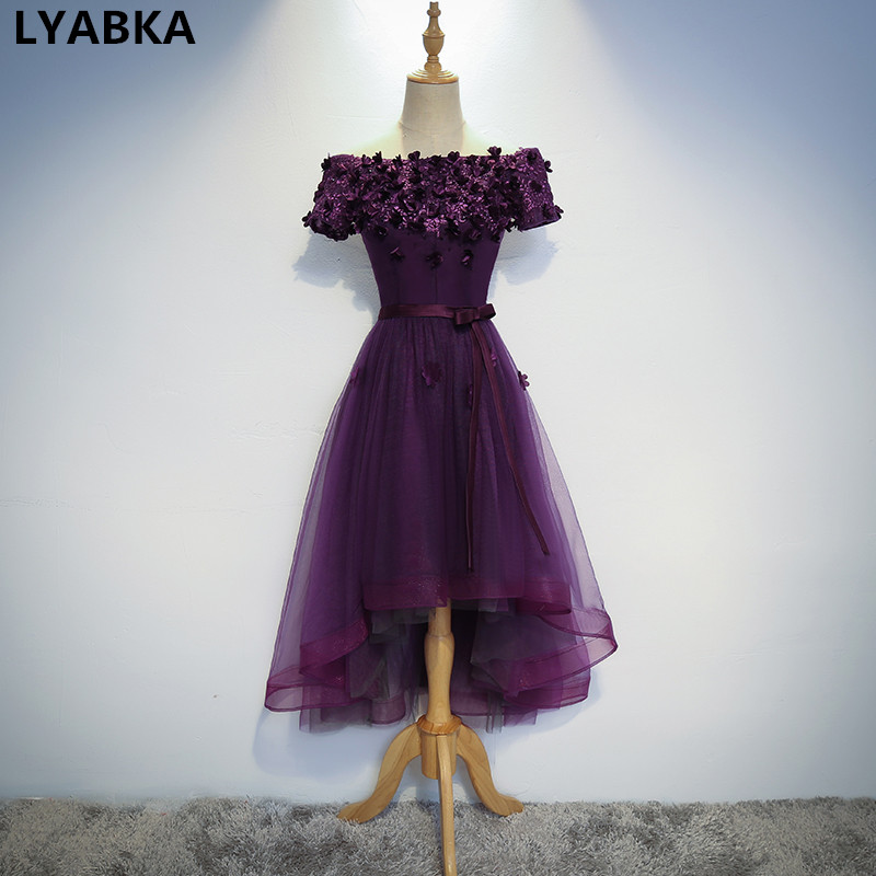 High Quality Purple Prom Dresses Boat Neck Short Sleeve ...