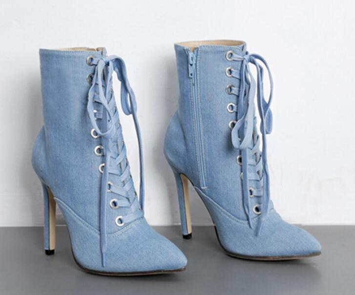 Women Fashion Design Pointed Toe Blue Denim Short Boots Lace-up Super High Heel Ankle Booties Street Shoes round toe women winter boots denim design high top lace up shoes butterfly knot embellished crystal decor stylish short booties