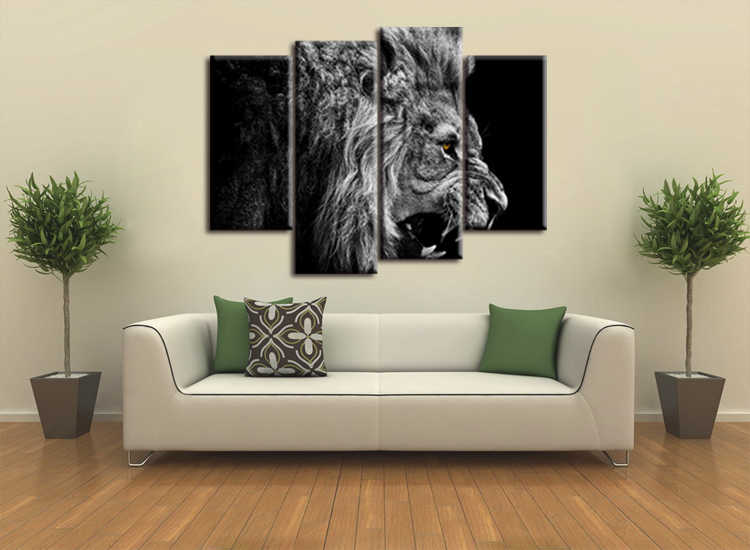 4 pieces / set HD Printed Animal Male Lion Wall Art Painting Canvas Print Room decor print poster Picture Canvas