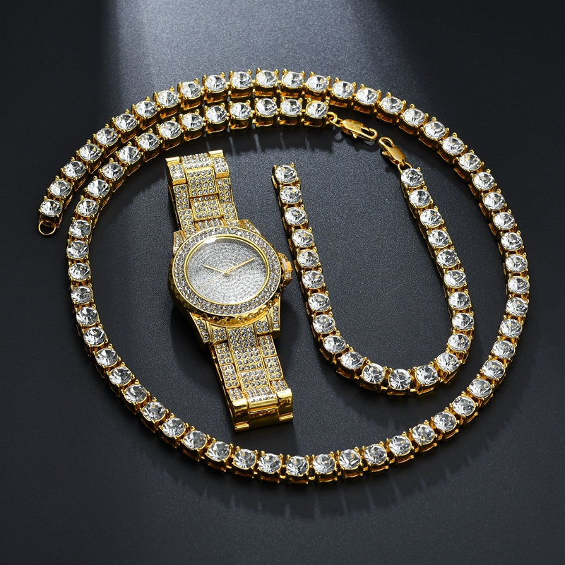Men And Women Hip Hop Gold Color Full Rhinestone Alloy Party Bracelet Necklace Watch Sets Jewelry Holiday Gifts rhinestone alloy star necklace