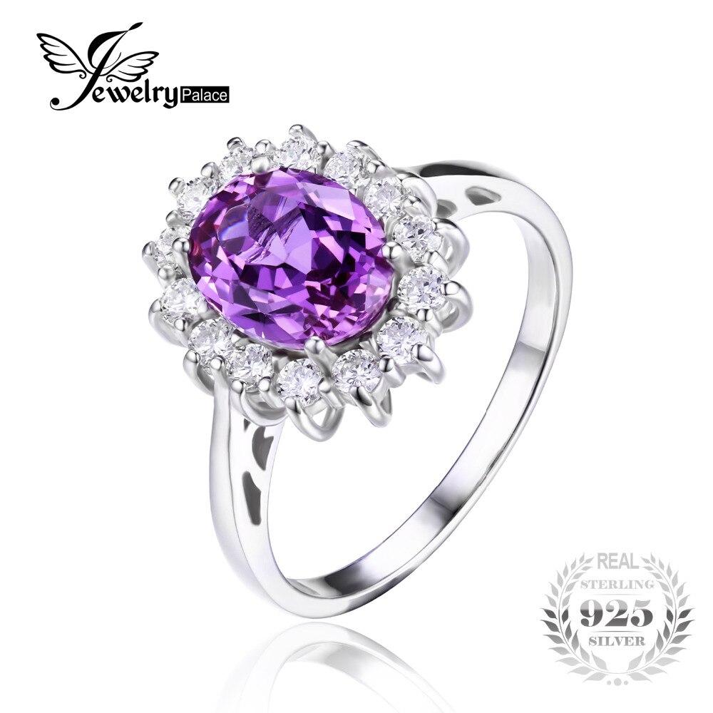 Prix pour JewelryPalace 2.4ct Ovale Alexandrite Sapphire Anneau Véritable 925 Bijoux En Argent Sterling Pour Les Femmes Princesse Diana Bagues de Fiançailles
