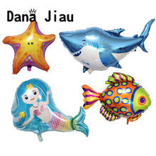 Big ocean animal balloons shark dolphin Mermaid Birthday party Decoration holiday Balloon baby shower Inflatable fish Ball(China)