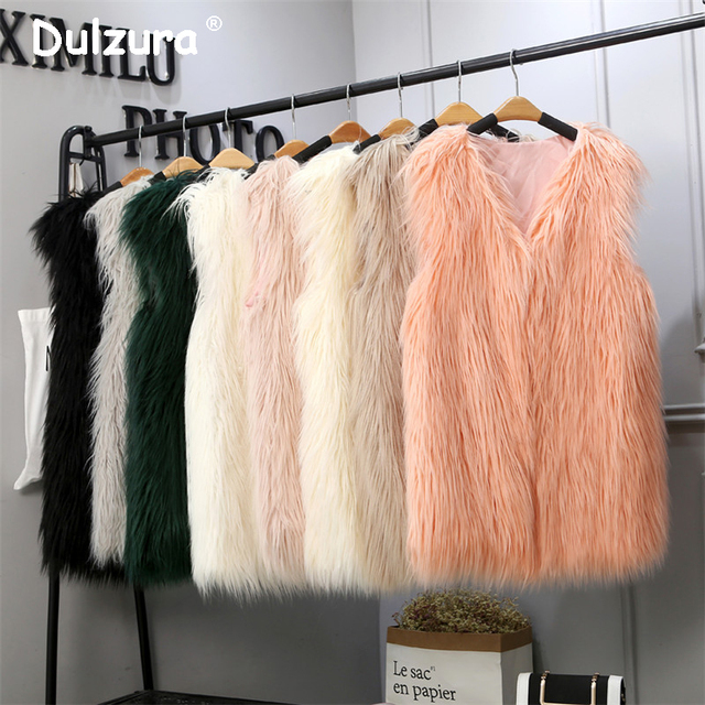 Purple Long Faux Fur Vest Women 2018 Autumn Sleeveless Jacket Coat Colete Feminino 15 Colors Plus size 3XL Waistcoat Gilet Femme