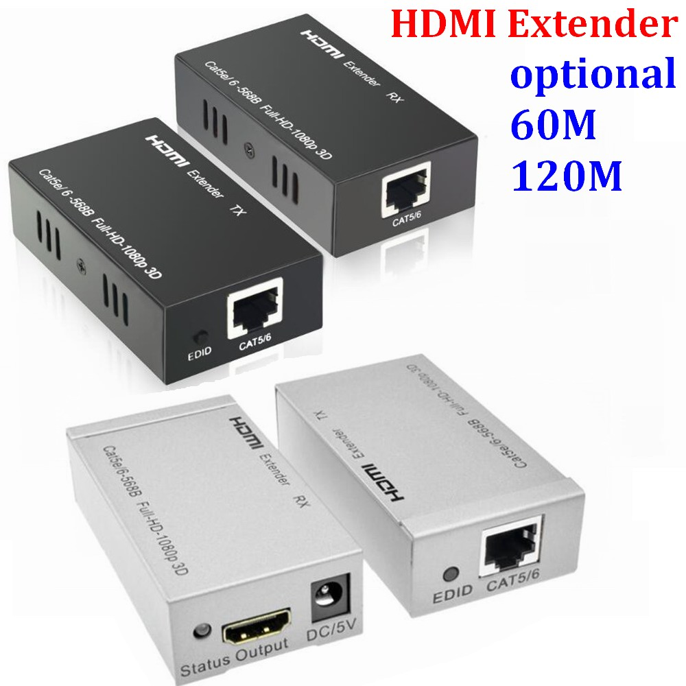 50set/lot  Reliable 60M HD HDMI extender Signal amplifier expander to RJ45 Cat5e/6 cable with dual power adapter 3D 1080P hdmi extender rj45