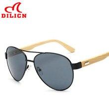 DILICN Diseñador de la Marca Negro Hombres Mujeres Classic Piloto Aviador Gafas De Sol De Bambú De Bambú Gafas de Sol Retro gafas de Pesca Gafas De Sol Mujer