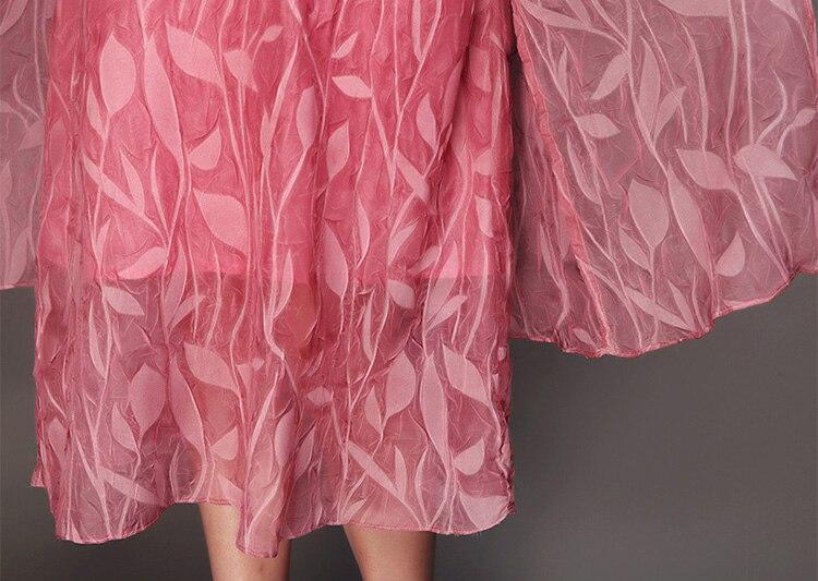 Cou O Grande Décontracté Taille Rose D'été Vintage 6xl Green En Manches Demi Imprimé A ligne 2018 pink Soie Printemps Robe Feminina Vert AfnzwAq8