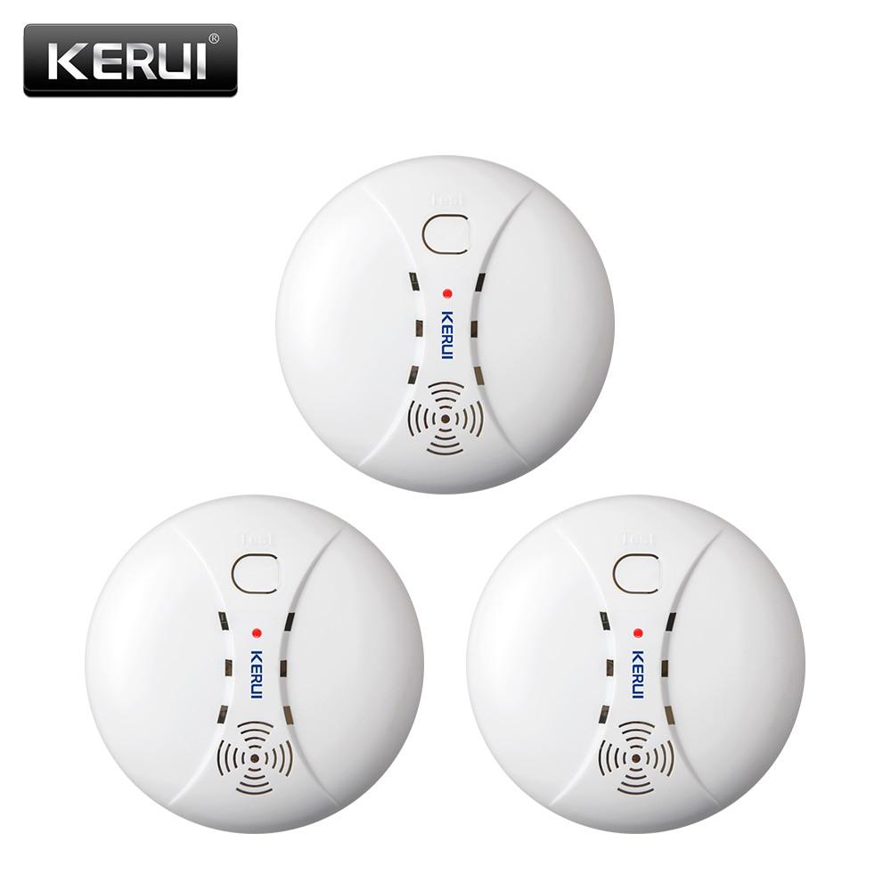 KERUI 3pcs/lot 433MHZ Home Kitchen Security Wireless Smoke Detector Fire Sensor Alarm For G18 W18 W20 GSM Wifi Alarm System