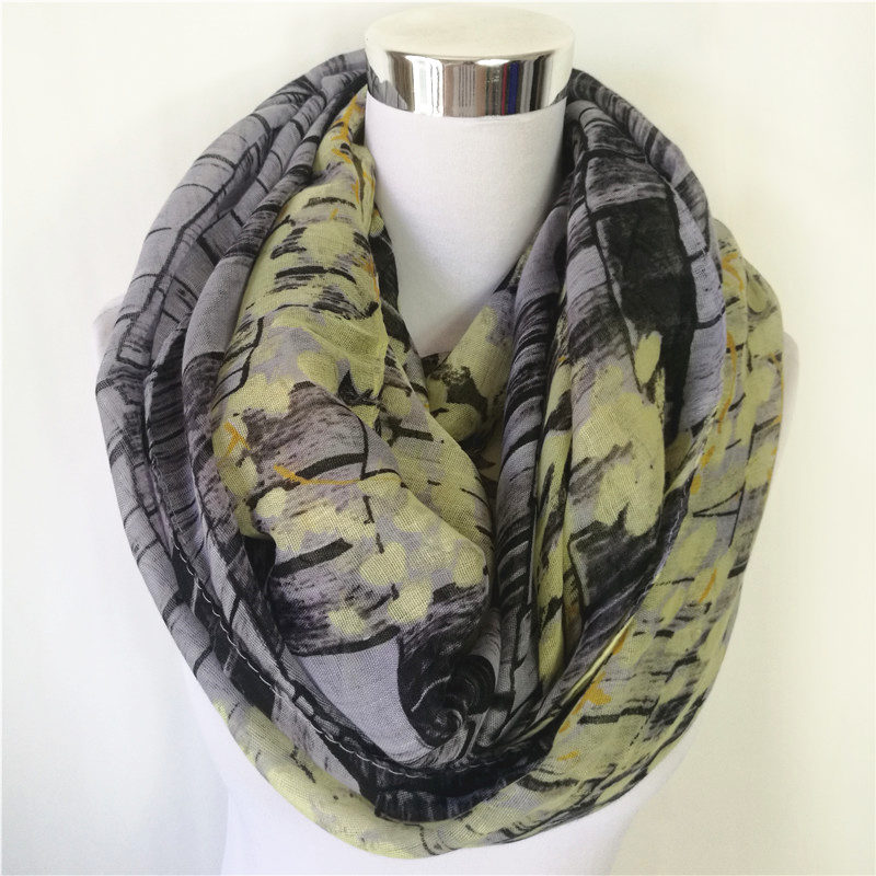 hot sale Viscose Loop   Scarf   for Women flower Print Infinity Scarfs fashion Style warm cotton   Scarves     Wraps