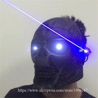 Новый Дизайн LED световой синий Laserman Хэллоуин Призраки МАСКА синий лазерный партии Маскарад Маски для век