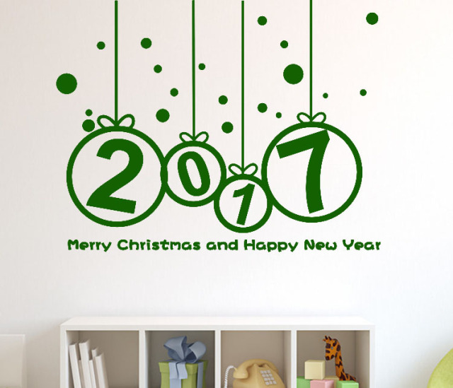 2017 happy new year and merry christmas art wall sticker home decal wall stikers window store