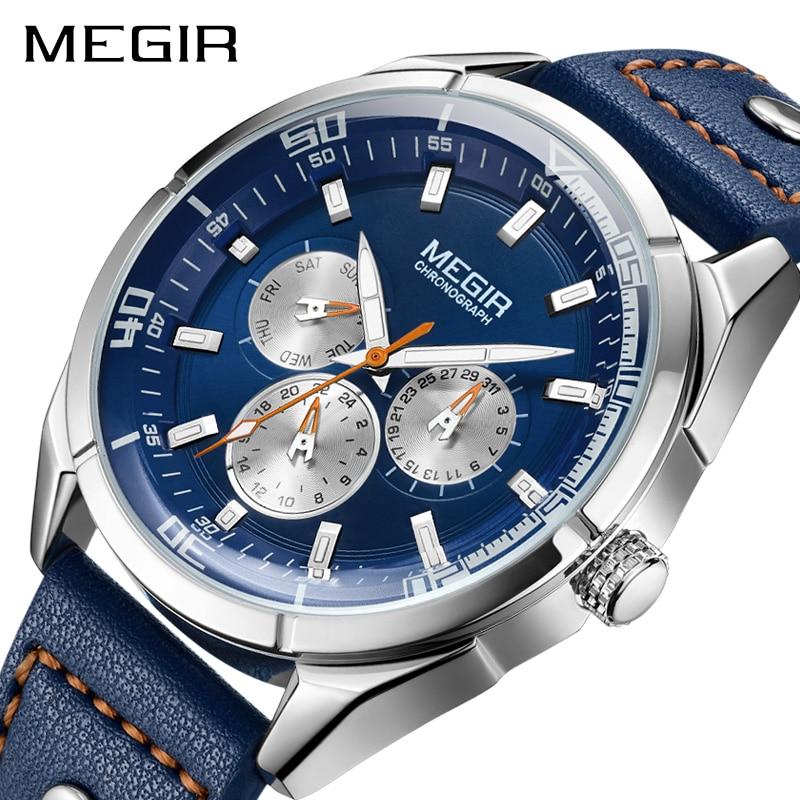 MEGIR hommes montre Top marque de luxe calendrier semaine hommes montres militaire Sport armée bracelet en cuir classique Quartz mâle horloge boîte 2072