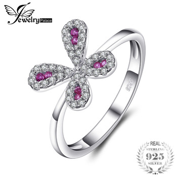 Jewelrypalace Butterfly Bowknot Cut Created Rubies Rings 925 Sterling Silver Hot Selling Finger Ring Gifts For Mother/Wife/Girls mariposa en plata anillo
