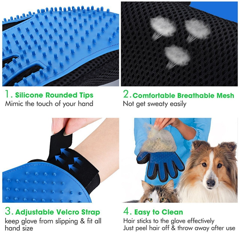 Pet Grooming Glove for Cats Brush Comb Cat Hackle Pet Deshedding Brush Glove for Animal Dog Pet Hair Gloves for Cat Dog Grooming (3)