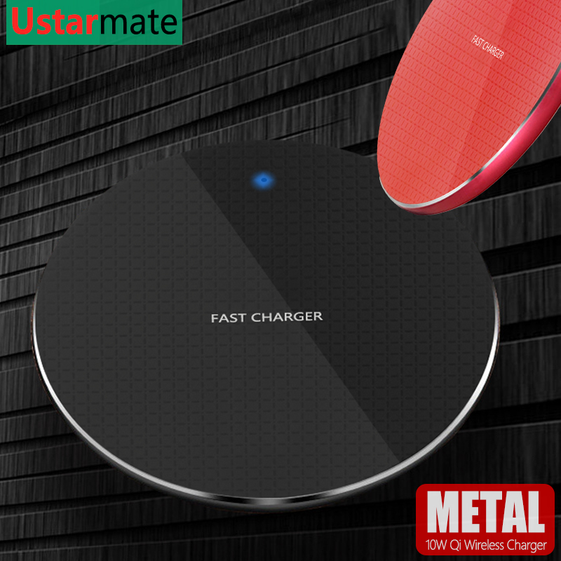Quick 10W Qi Wireless Charger Pad For iPhone X/XS Max XR Samsung S9 S10 Plus Note 9 8 Metal Qi Wireless Phone Charging Desktop