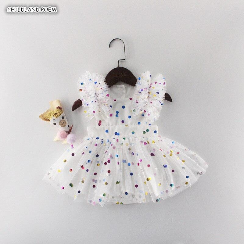 Платье в горошек для новорожденных девочек, платье для первого дня рождения, лето 2019