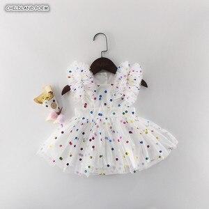 Vestido da menina do bebê verão 2019 vestido de bebê recém-nascido primeiro 1st vestido de aniversário para a menina do bebê vestido de princesa polka dot roupas da menina do bebê