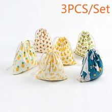 3PCS cotton linen Drawstring Bag Canvas Multifunction Female Travel Makeup Cosmetic Bag Cloth Shoes Bags Organizer Pouch Case