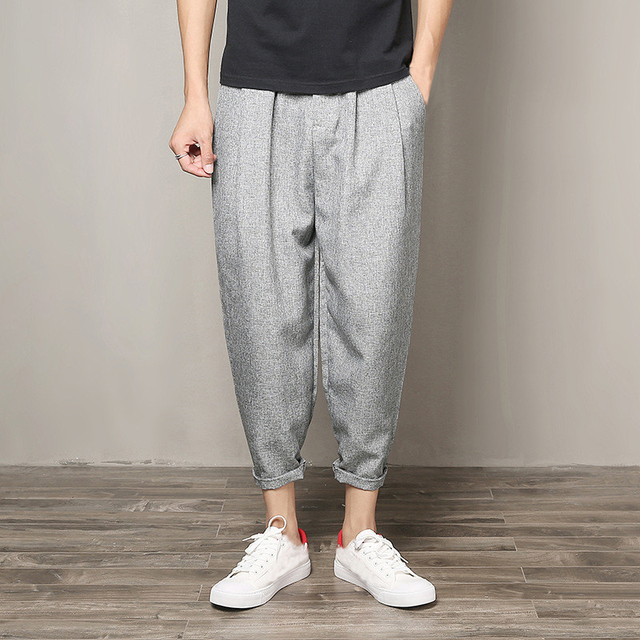 ddd3f29c03 Men Ankle-Length Pants Cotton Linen Wide Leg Straight Men Casual Trousers  HipHop Harem Clothing Plus Size Male Summer Autumn