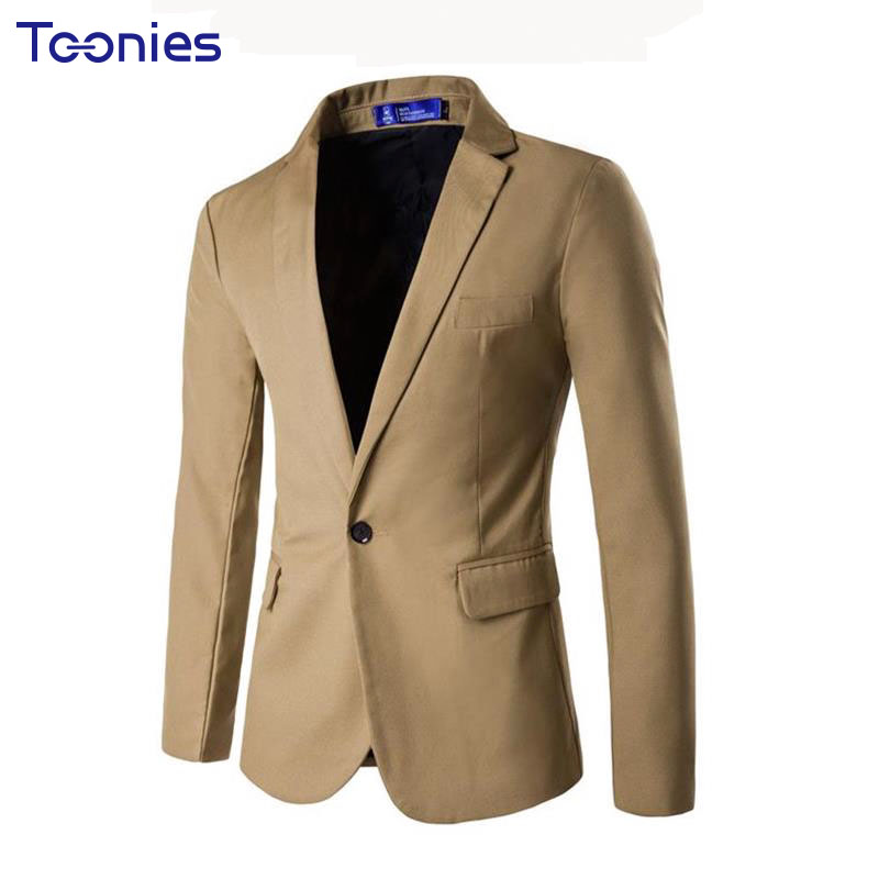 2018 Business Casual Style Mens Suite Long Sleeve Single Button Male Blazers Spring Soli ...