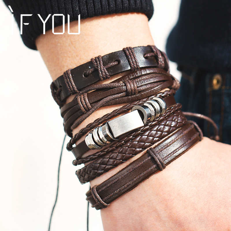 IF YOU Fashion Multiple Layers Brown Leather Bracelets Men Classic Rope Chain Charms Bracelet For Men Armband Jewelry Gifts 2019