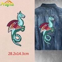 Pterossauros ZOTOONE Grande Emblema Do Dragão Animais Jaqueta de Motociclista Punk Traseira Patch Costurar Sobre Patches Roupas Applique Pena Bordado F1