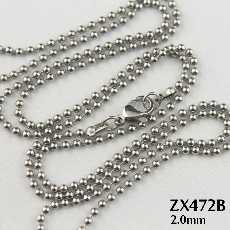 Lobster 2.0MM Silver Bead 200 Silver Chain