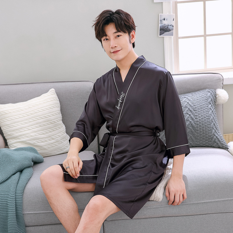Men Summer Solid Color Robe Male Silky Sleepwear Rayon Night Gown Nightwear V-Neck Kimono Bathrobe Soft Satin Home Clothes