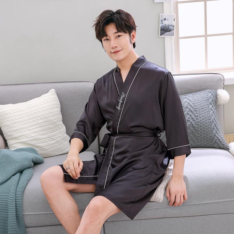 Men Summer Solid Color Robe Male Silky Sleepwear Rayon Night Gown Nightwear V-Neck Kimono Bathrobe Soft Satin Home Clothes