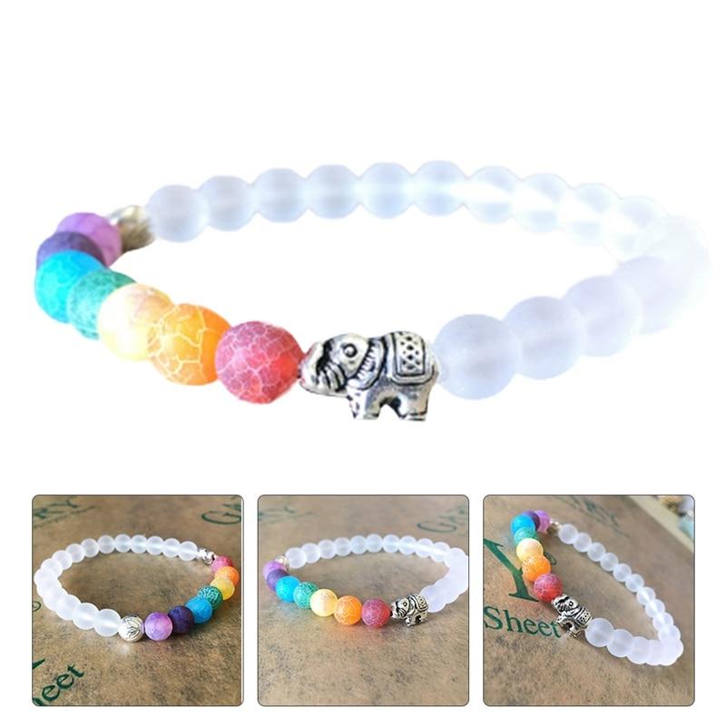 7 Chakra Elephant Charm Beaded Bracelet Mala Beads Yoga Energy Jewelry Hot