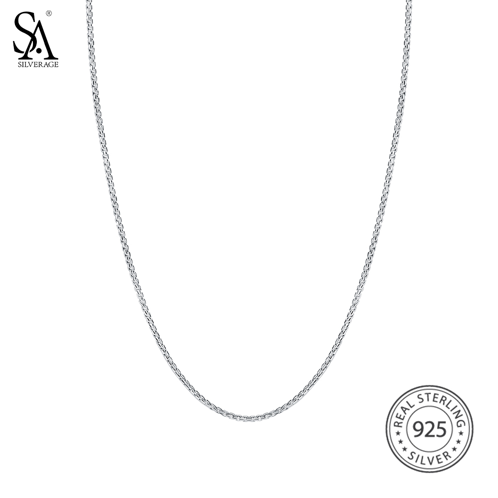 SA SILVERAGE 925 Sterling Silver Italy Box Chain Necklaces for Women Fine Jewelry 925 Silver Long